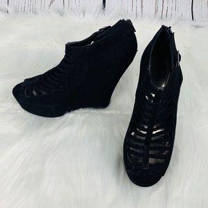 MADDEN GIRL Warped Caged Wedge Platform Shoes 8.5
